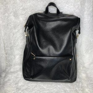 A New Day Faux Leather Black Laptop Backpack